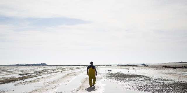 pêcheur en ciré jaune qui marche sur la plage