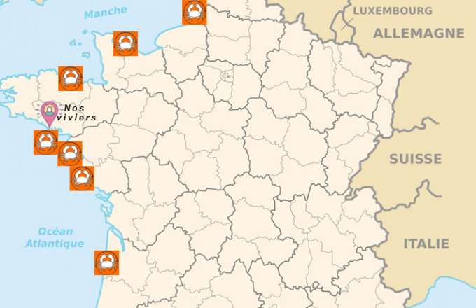 carte avec les zones de pêches des viviers de saint colomban pour les coquillages